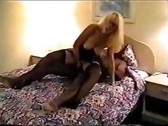 Swinging Beauty In Stockings Goes Black