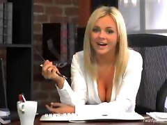Business Woman Bree Olson Pleasures Herself At Her Desk