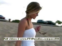 Carli, From Ftv Girls, Teen Blonde Chick Walking With Her Friend On The Beach