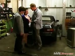 German Mature Fucked By Two Guys In The Garage