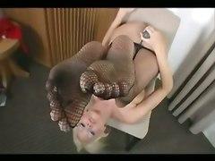 Busty Blonde Masturbating In Pantyhose