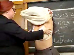 Chubby Teacher Gives Licking Lesson