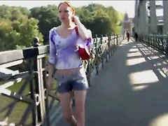 Piss: Russian Baby Wet Her Short In Public