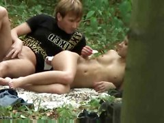 Someone Is Shooting The Wild Nature Sex Of The Amateur Couple On The Camera