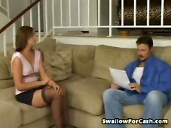 Pierced Clit Chrissy Dines On Dick