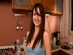 My Brunette Love Posing In The Kitchen