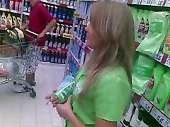 Upskirt Promoter Girl In Supermarket Romania 2