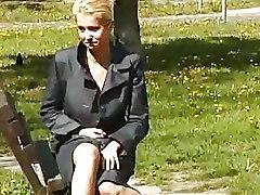 Hot Blonde Babe Peeing Outdoor