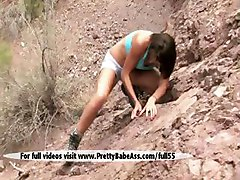 Alpinist Sexy Maria Wants To Masturbate On The Rocks