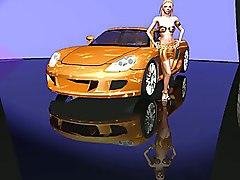 3d Readhead With Her Sport Car
