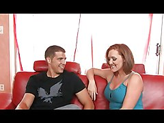 Redhead Cock Fucked On Ruby Red Couch