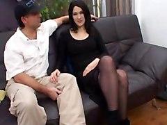 French Brunette Liza In Stockings