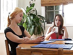 Teen Girls Making Out On The Kitchen Table