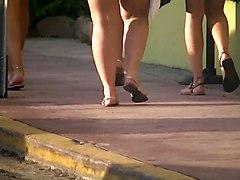 Latinas In Miami Florida Walking In Thong String -voyeur Ass
