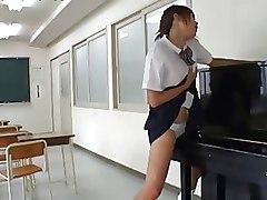 Horny Asian Schoolgirl Humps A Piano