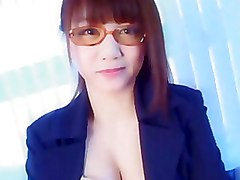 Asian Chick With Glasses Fucks In A Work Place