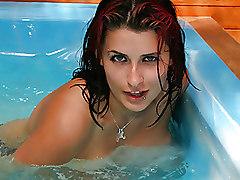 Bikini Babe Gets Horny In Pool
