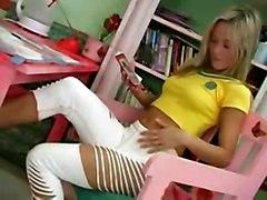 Blonde Teen Josje Masturbates