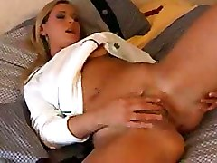 Shaved Pussy And A Finger Tickling Her Clit