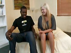 Blond Chick Gets Ebony Stick
