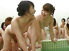 Japanese Bathroom Orgy Galore