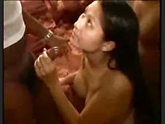 Big Titty Wife Cuckold Husband In Interracial Gangbang