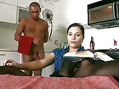 Sexy Brunette In Tight Black Stockings Gets Fucked In Kitchen