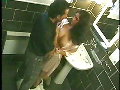 Sexy Black Haired Chick Nailed In Bathroom