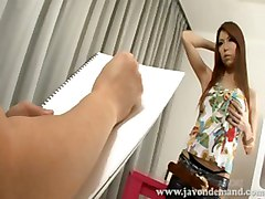 Model Rino Asuka Poses For Painter And Lets Him Fuck Her