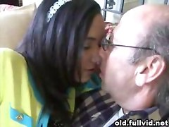 Brunette Sucks Old Man