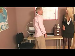 Femdom Office Domme In Stockings Spanks Paddles Canes