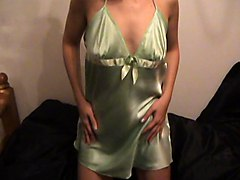 Sexy Girl Silky Satin Nighty Slip & Panties Oh & Baby Oil