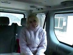 Blonde Slut Frigging In Car