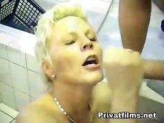 Mature Blonde Fucks In Bathroom
