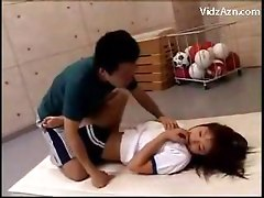 Trainer Raping Her Student Rubbing Tits Fingering Pussy Fucking Mouth
