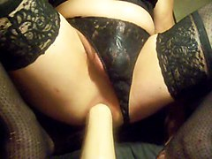 Abusing My Gaping Asshole With A Huge Black Dildo And Fist