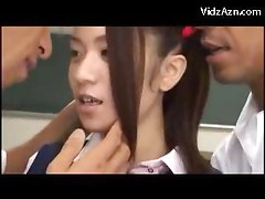 Cute Schoolgirl In Uniform Squirting Getting Her Pussy Fingered By 2 Guys On The Floor Of The Classroom