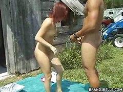 Redhead Slut For Threesome Outdoor