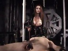Babe With Huge Tits Punishes Her Slaves Gonads