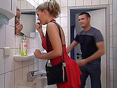 Lady In Red Gets Her Ass Fucked In Toilet  Swallow