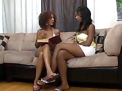 Ebony Lesbians Dildoing