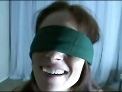 A Blindfolded Ginger Lea Gets A Load Of Cum On Her Face