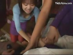 5 Girls In Pantyhoses Rubbing Guy With Their Feets Giving Footjob On The Floor
