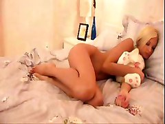 Cute Blonde With A Little Pink Vibrator