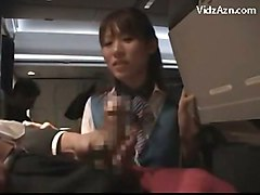 Stewardes Watching How Passenger Jerking Giving Handjob Blow