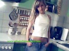 Dirty Girlfriend Strips In The Kitchen
