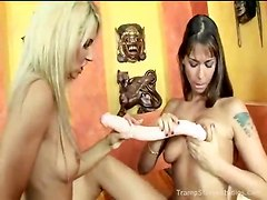 Playing With Fingers And A Big Dildo