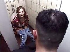 Pigtailed Slut Fucked In Public Bathroom