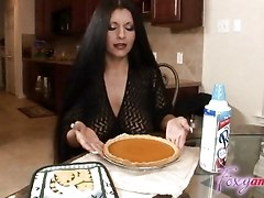 Busty Latina Facial In Kitchen