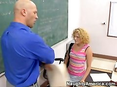Naughty Student Pets Dick Of Her Teacher!